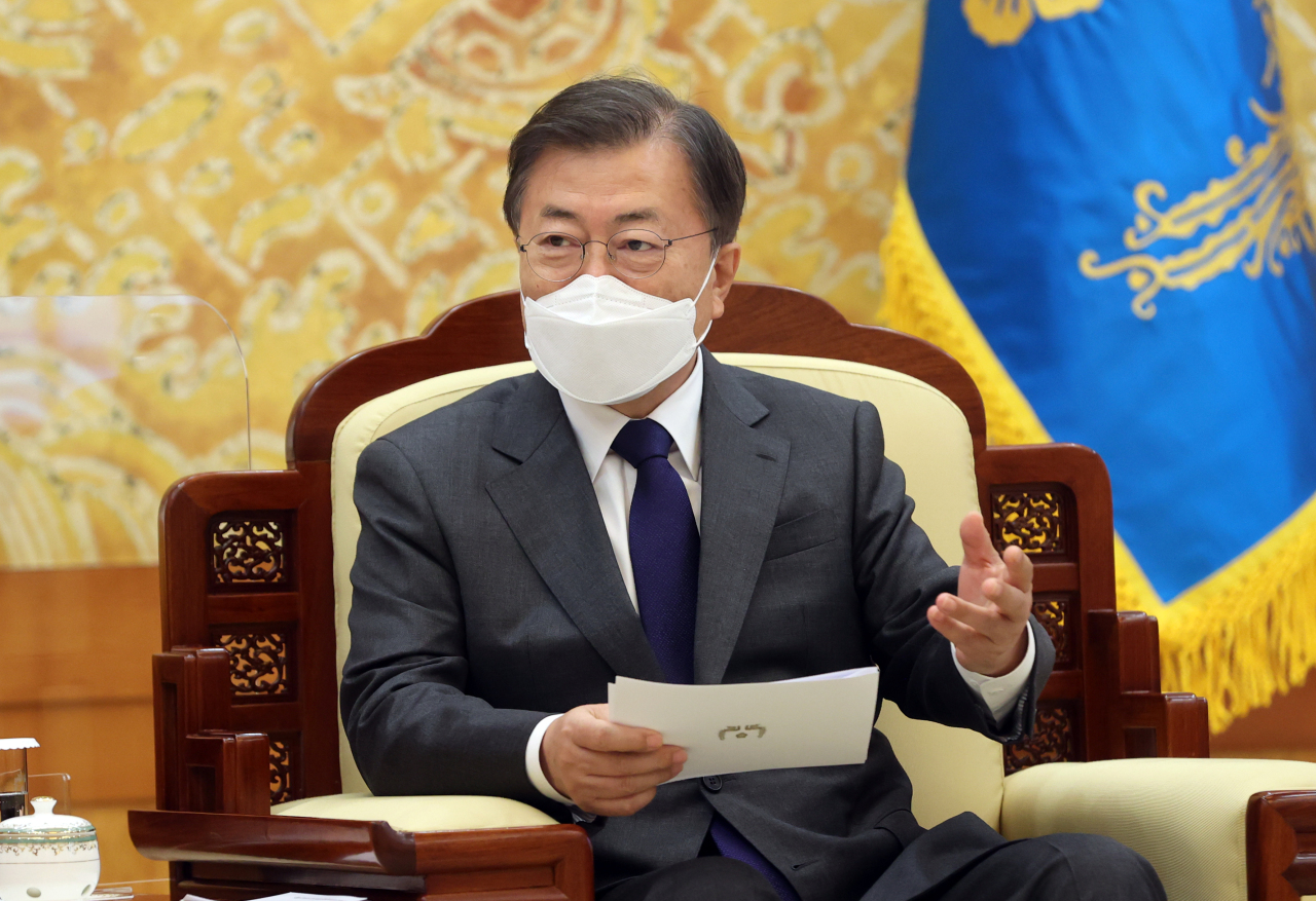 President Moon Jae-in at the Blue House on Thursday. (Yonhap)
