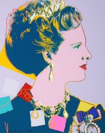 """A portrait of Queen Margrethe II of Denmark by Andy Warhol, part of his """"Reigning Queens"""" series (Yeasung Gallery)"""