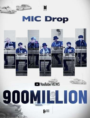 This photo, provided by Big Hit Music on Sunday, marks 900 million YouTube views for the BTS music video
