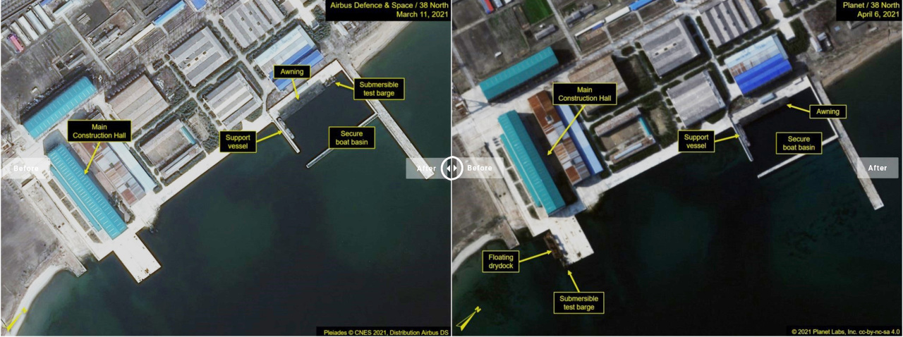 These satellite images show Sinpo shipyard, located on North Korea's east coast, captured from the website of 38 North, a US expert website monitoring North Korea. (38 North)