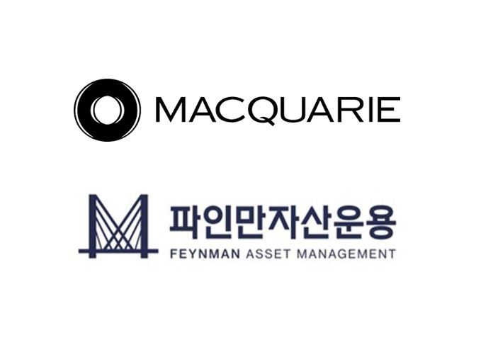Logos of Macquarie Group (top) and Feynman Asset Management