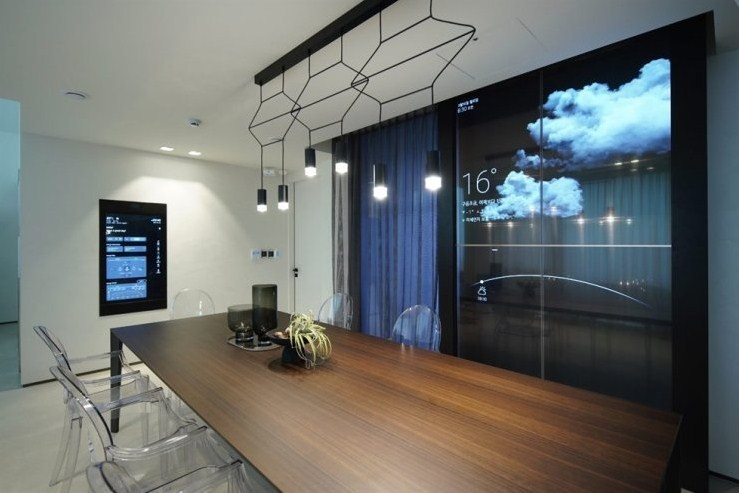 This file photo, provided by LG Electronics Inc. on Sept. 3, 2020, shows the interior of the company's smart home in Seongnam, south of Seoul, with OLED display products. (LG Electronics Inc.)
