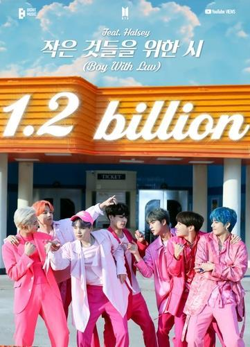 This photo, provided by Big Hit Music, shows an image celebrating 1.2 billion views earned by the BTS music video