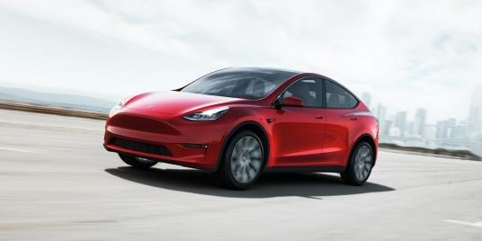 Tesla Inc.'s Model Y SUV is seen in this photo provided by the Korean branch of the US electric vehicle maker on Feb. 14, 2021. (Tesla Inc.)