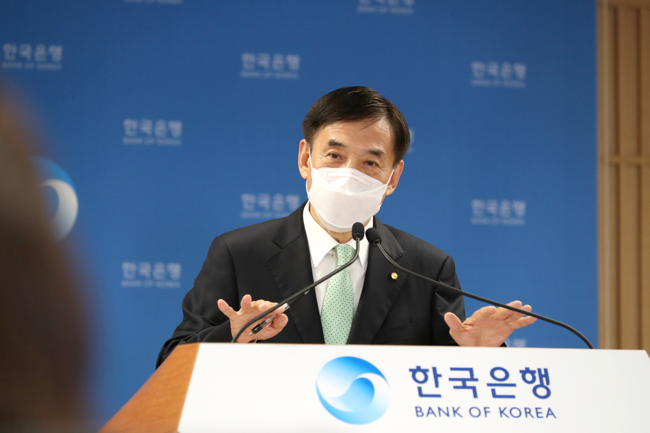 Bank of Korea Gov. Lee Ju-yeol speaks during a press briefing held at the central bank headquarters in Seoul on Thursday. (Yonhap)
