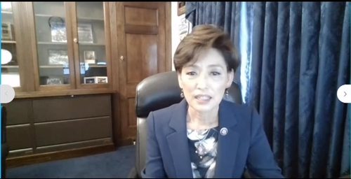 The captured image from a Youtube channel of the Tom Lantos Human Rights Commission shows Rep. Young Kim (R-CA) speaking in a virtual commission hearing in Washington on Thursday on South Korea's recently legislated ban on anti-North Korea leaflets. (Youtube channel of the Tom Lantos Human Rights Commission)