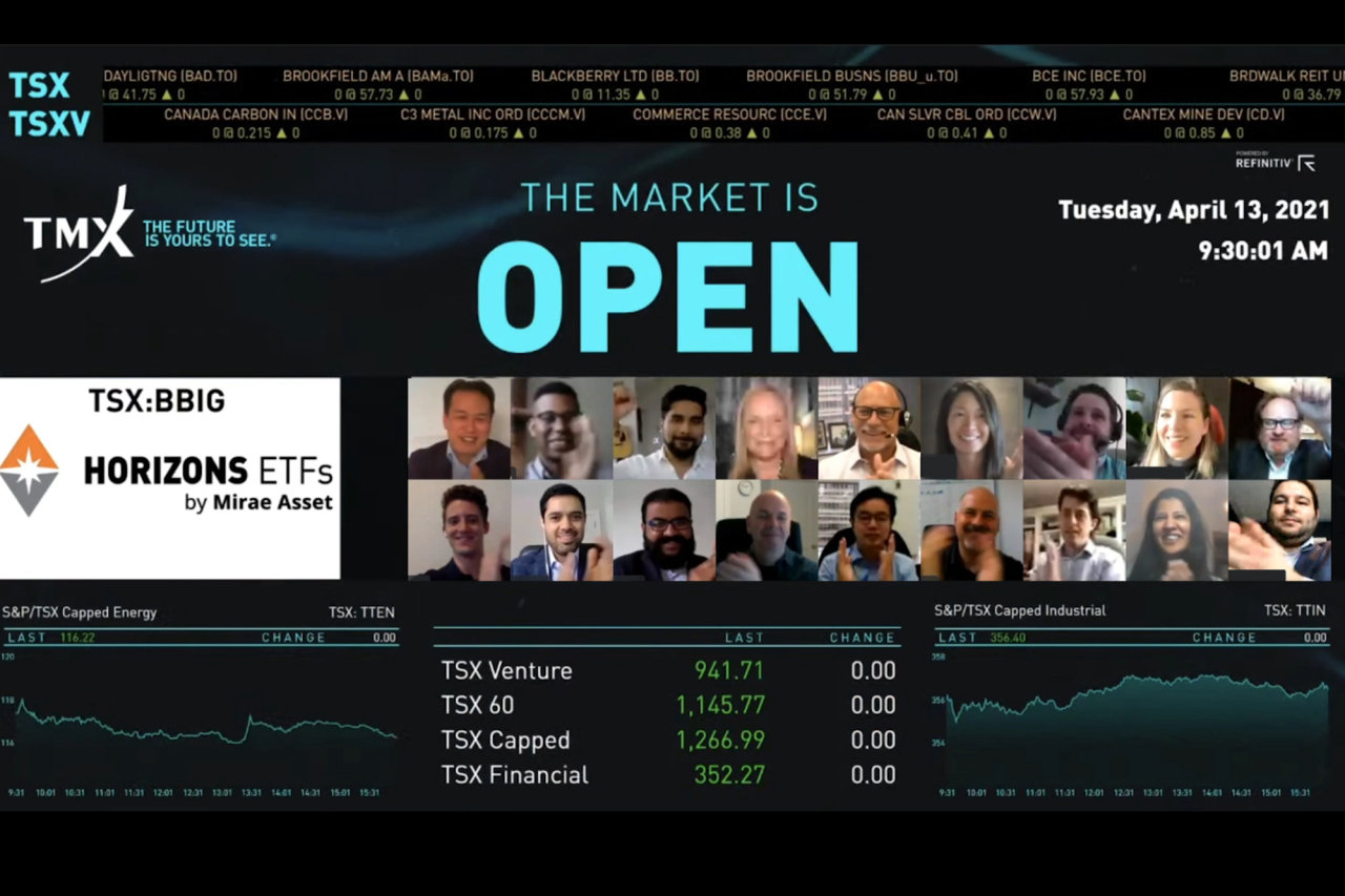 An online event to celebrate the listing of new ETFs, including those tracking Bitcoin futures, by Canadian investment firm Horizons ETFs on Tuesday in Canada. (Mirae Asset Global Investments)