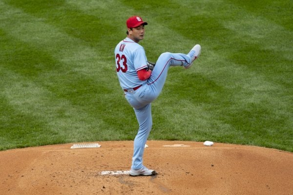 In this USA Today photo, St. Louis Cardinals pitcher Kim Kwang-hyun delivers a pitch during the first inning against the Philadelphia Phillies at Citizens Bank Park, Philadelphia, on Saturday. (USA Today-Yonhap)