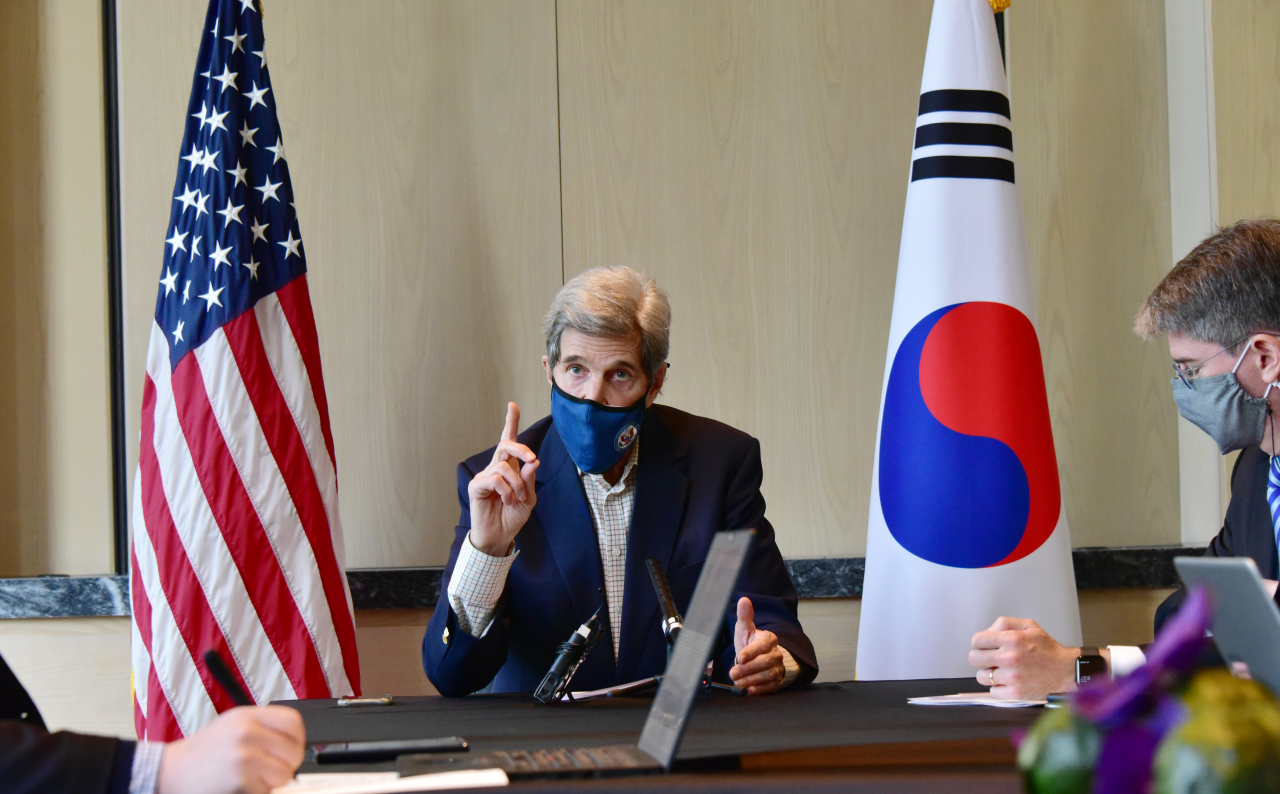 US special presidential envoy for climate John Kerry speaks during a roundtable meeting in Seoul on Sunday. (US Embassy in South Korea)