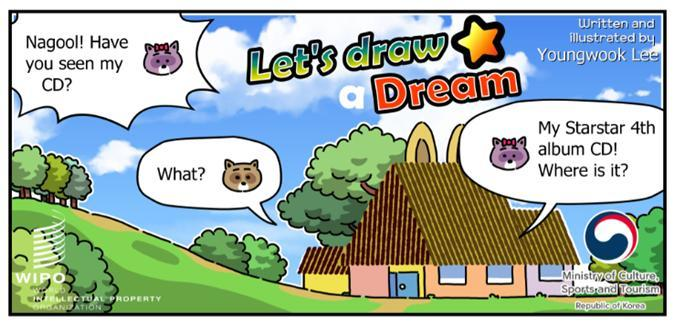 """Webtoon """"Let's Draw a Dream"""" about the importance of copyrights, created by lawyer and cartoonist Lee Young-wook. (Culture Ministry)"""