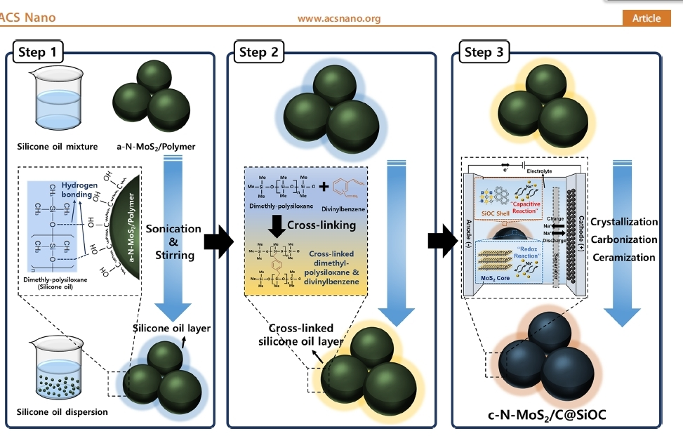 Process of coating molybdenum disulfide anodes with silicon oil (ACS Nano)