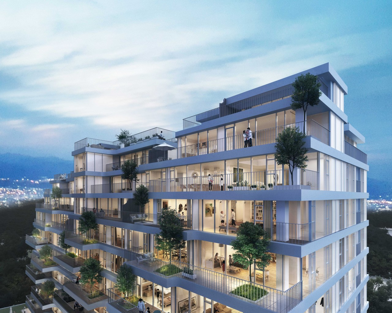 A 3D image rendering of the AFER Hangang that features external balconies for all units. (Hyunjoon Yoo Architects)