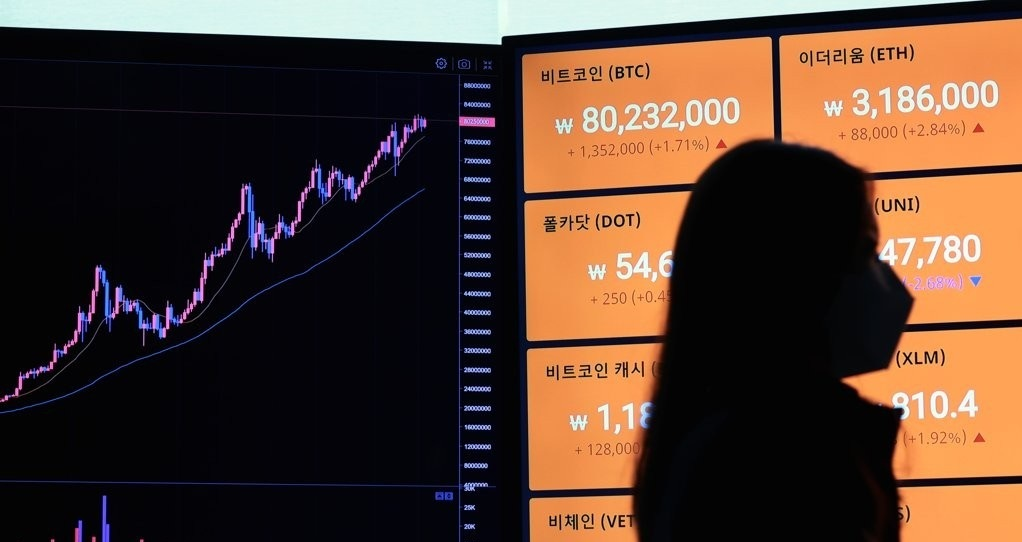 Signboards show price movements of bitcoin and other virtual currencies on an exchange in South Korea on April 16. (Yonhap)