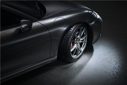 This file photo provided by Hankook Tire shows the Ventus S1 evo 3 tires mated with the Porsche 718 Boxter. (Hankook Tire)