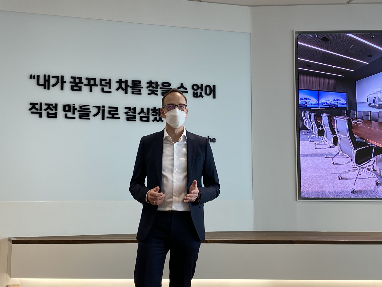Porsche Korea CEO Holger Gerrmann speaks during a media conference at the new company office in Gangnam, Seoul on Thursday. (Jo He-rim/The Korea Herald)