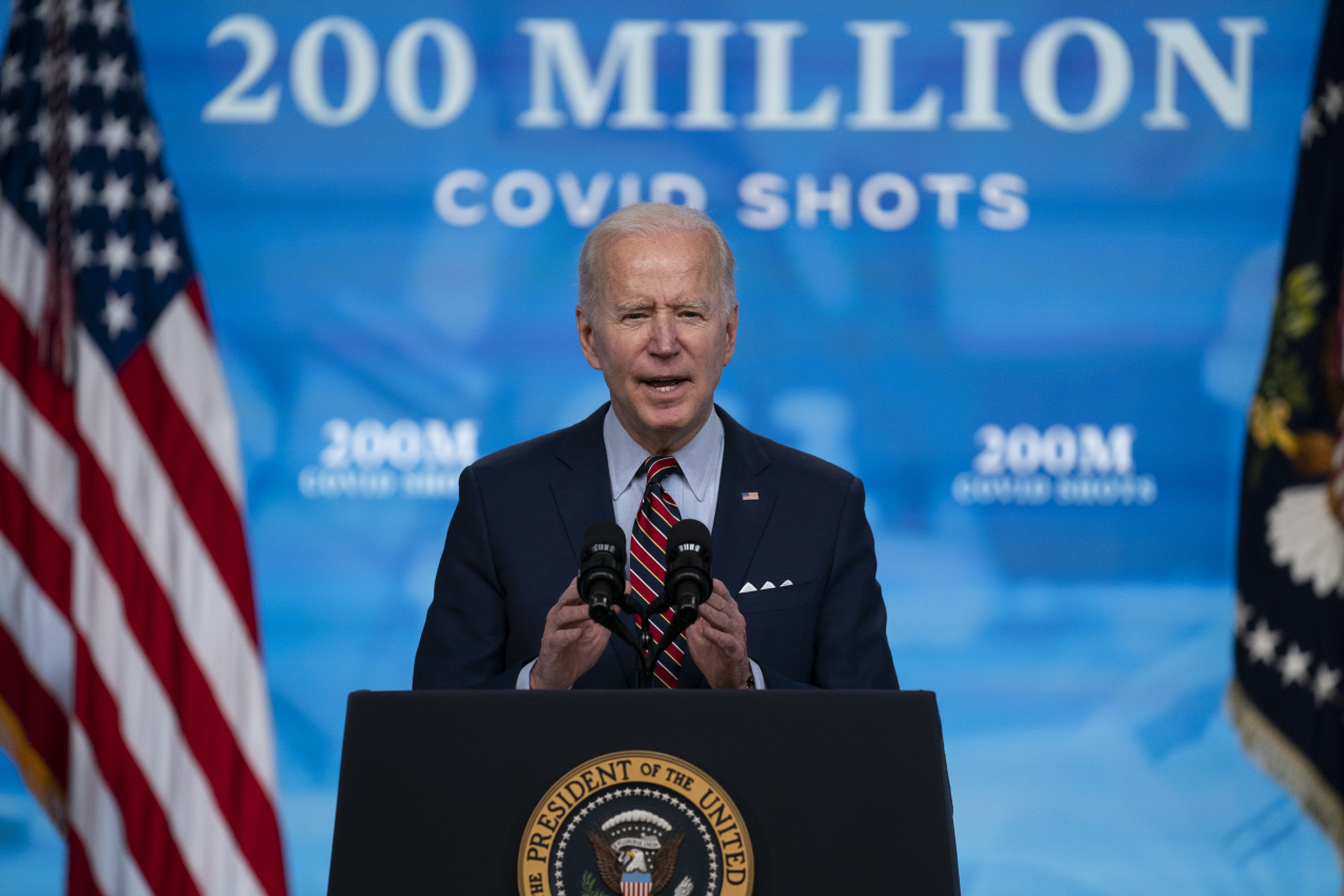 President Joe Biden speaks about COVID-19 vaccinations at the White House on Wednesday in Washington. (AP-Yonhap)