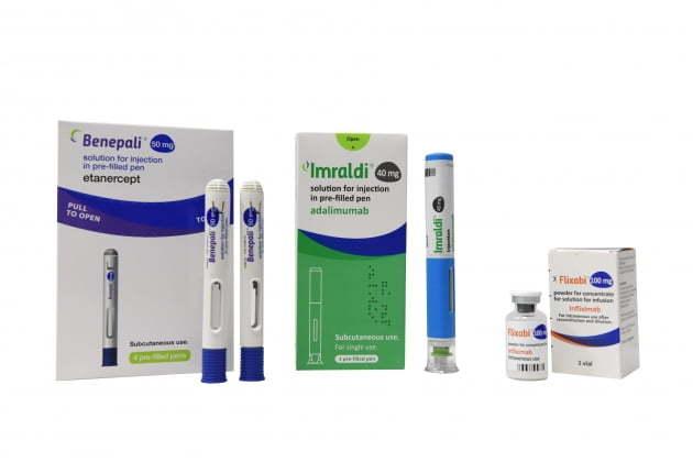 Samsung Bioepis' three major autoimmune biosimilars: Benepali, Flixabi and Imraldi (Samsung Bioepis)