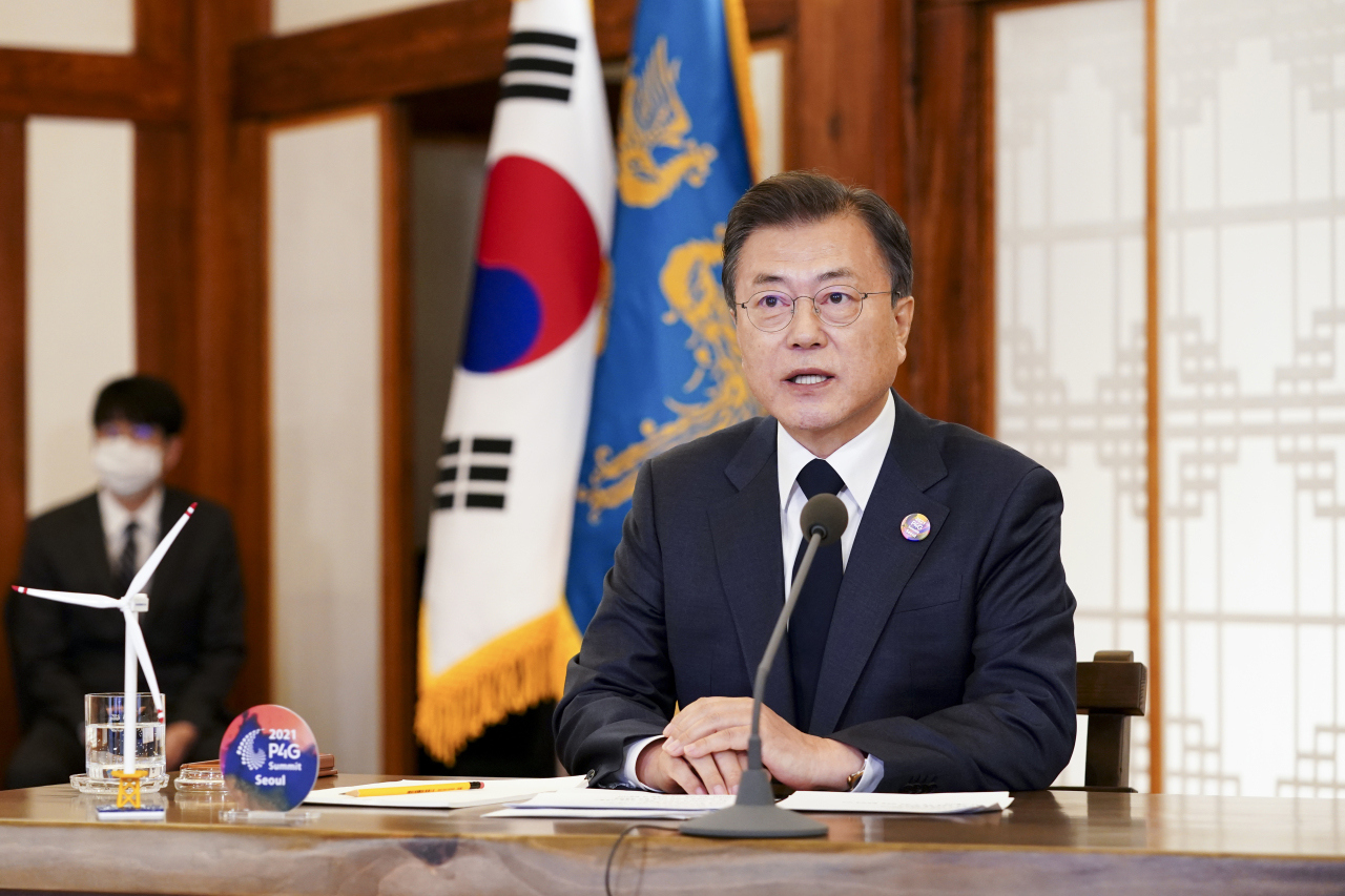 President Moon Jae-in speaks during the Leaders Summit on Climate at Cheong Wa Dae, April 23, 2021. (Yonhap)