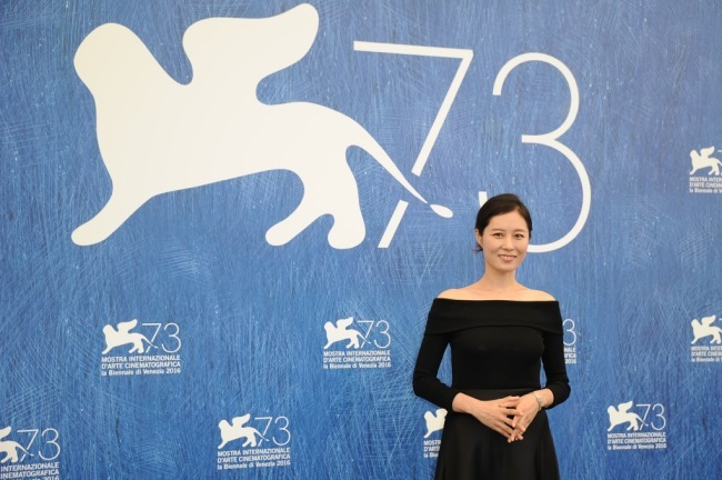 Actor Moon So-ri attends the 73rd Venice Film Festival as a judge in 2016. She won the Marcello Mastroianni award at the 2002 Venice Film Festival. (C-Jes Entertainment)