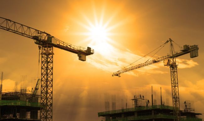 Cranes on a sunset sky (123rf)