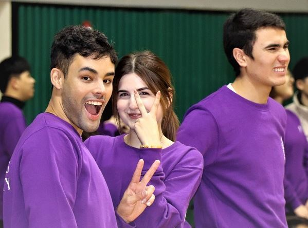 Foreign students at Keimyung University in Daegu pose during a gymnastic event in 2019. (Keimyung University)