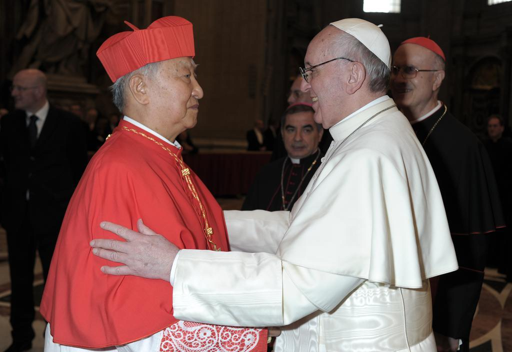 In this photo provided by the Catholic Archdiocese of Seoul, Cardinal Nicholas Cheong Jin-suk (L) meets Pope Francis at St. Peter's Basilica in the Vatican in March, 2013. (Catholic Archdiocese of Seoul)