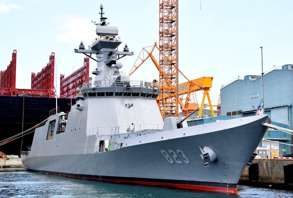 This undated photo, provided by the Navy, shows its new 2,800-ton frigate, named the Daejeon. (Navy)