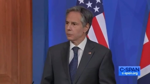 The image, captured from the website of US cable news network C-Span, shows US Secretary of State Antony Blinken answering questions in a joint press conference with his British counterpart, Dominic Raab, held in London on Monday. (C-Span)