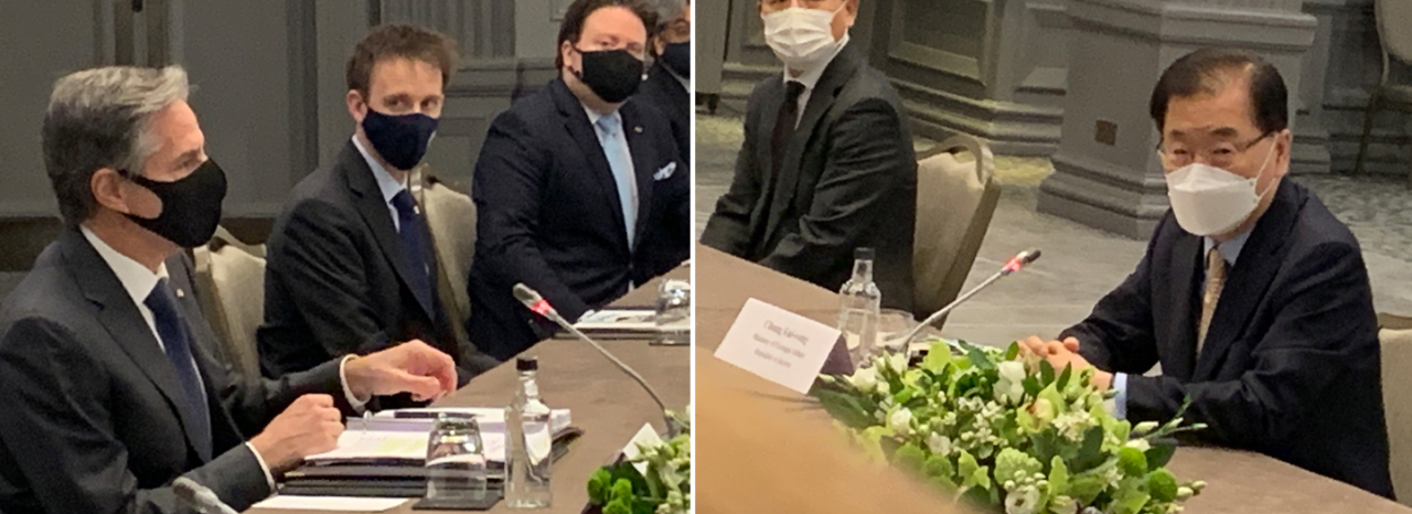 Foreign Minister Chung Eui-yong (R) and US Secretary of State Antony Blinken hold talks on the sidelines of a Group of Seven ministerial meeting in London in this combined photo on Monday. (Yonhap)