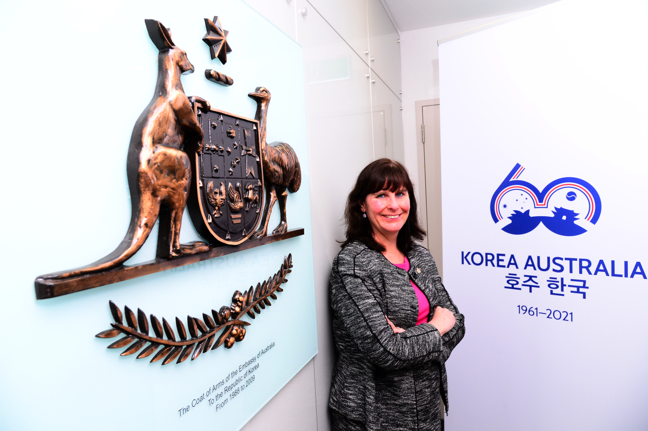 Catherine Raper, Australian ambassador to South Korea, poses for a photo during an interview with The Korea Herald at her office in Jongno, Seoul. (Park Hae-mook/The Korea Herald)