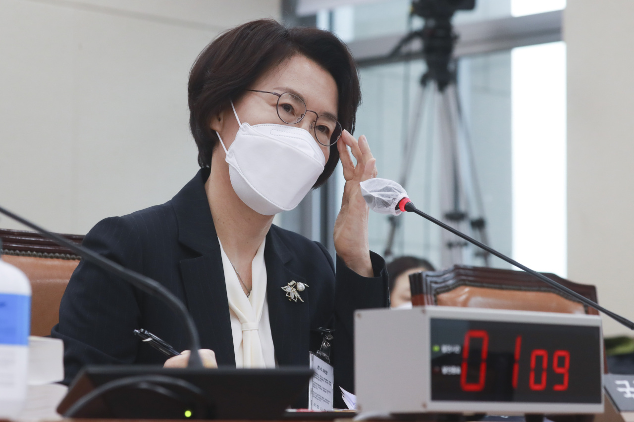 Science Minister nominee Lim Hye-sook attends a parliamentary confirmation hearing on Tuesday, at the National Assembly in Seoul. (Yonhap)