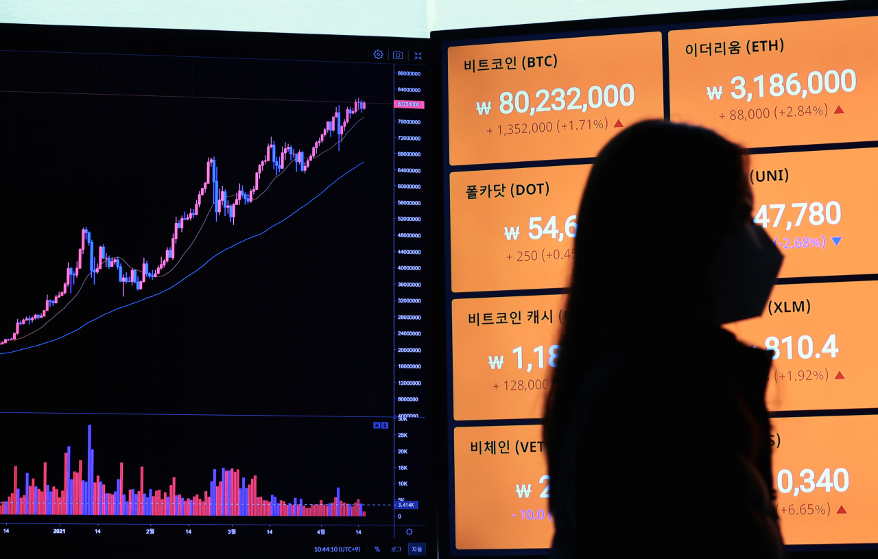 This photo, taken April 16, 2021, shows signboards showing price movements of Bitcoin and other virtual currencies on a local exchange. (Yonhap)