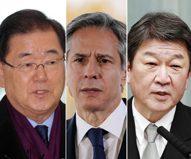 This composite photo, made of AFP and Kyodo pictures, shows (from L to R) Foreign Minister Chung Eui-yong, US Secretary of State Antony Blinken and Japanese Foreign Minister Toshimitsu Motegi. (AFP-Yonhap)