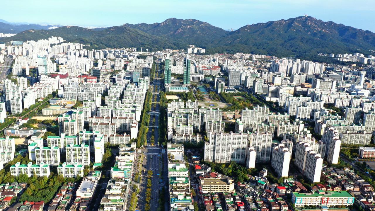 An aerial view of Anyang (Anyang City)