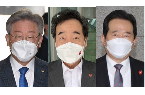 This composite file photo shows Gyeonggi Gov. Lee Jae-myung, Rep. Lee Nak-yon of the ruling Democratic Party and former Prime Minister Chung Sye-kyun. (from L to R). (Yonhap)