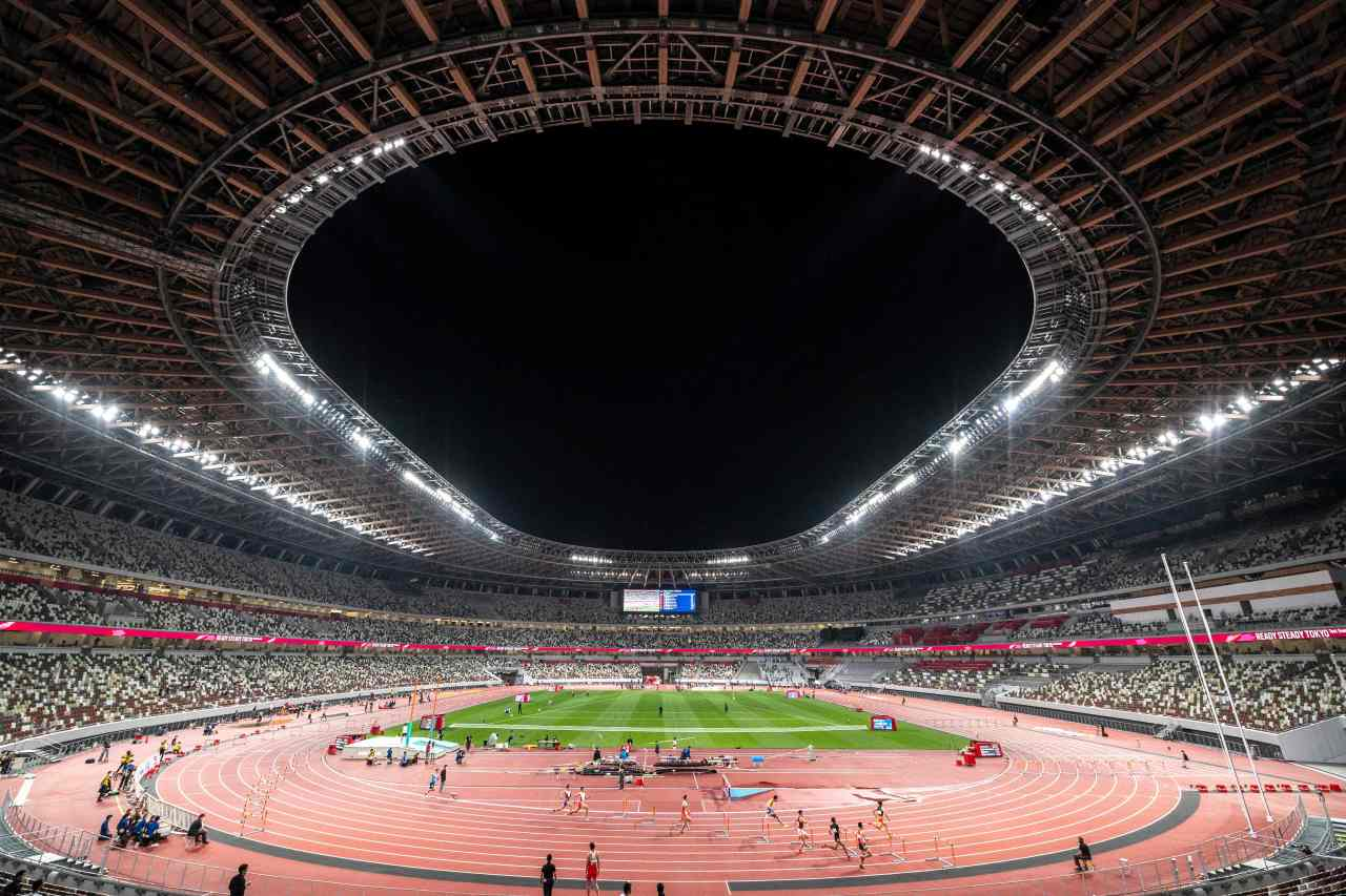 A general view shows the National Stadium during an athletics test event for the 2020 Tokyo Olympics in Tokyo on Sunday. (AFP-Yonhap)