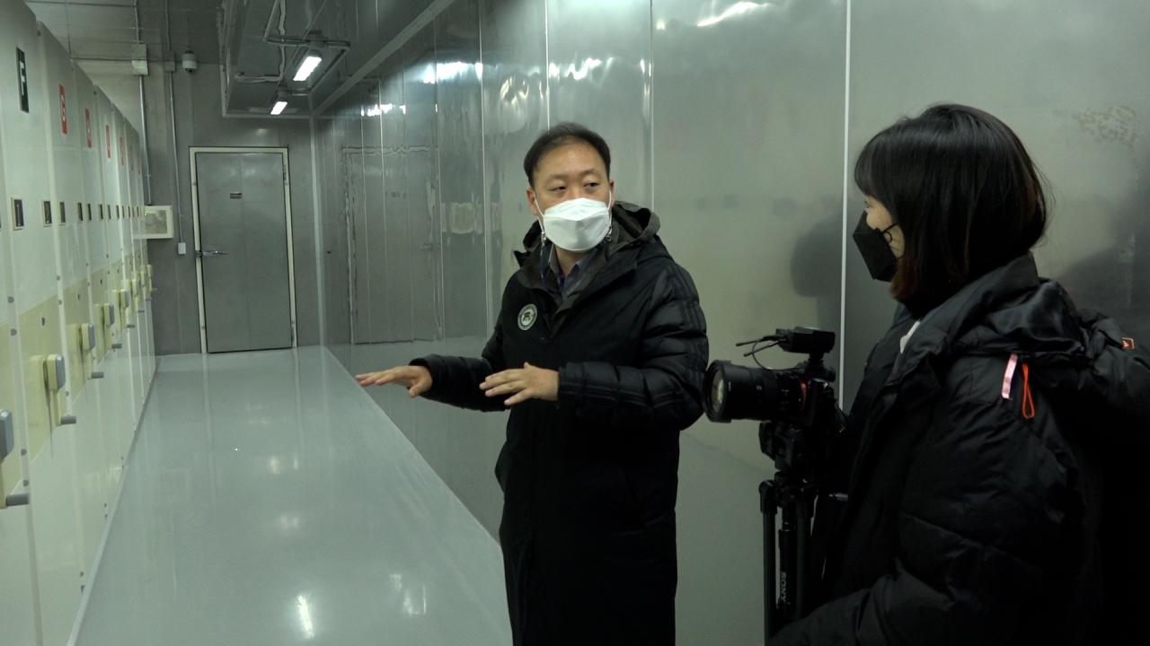 Inside the Seed Vault, 46 meters underground. (Kan Hyeong-woo/ The Korea Herald)