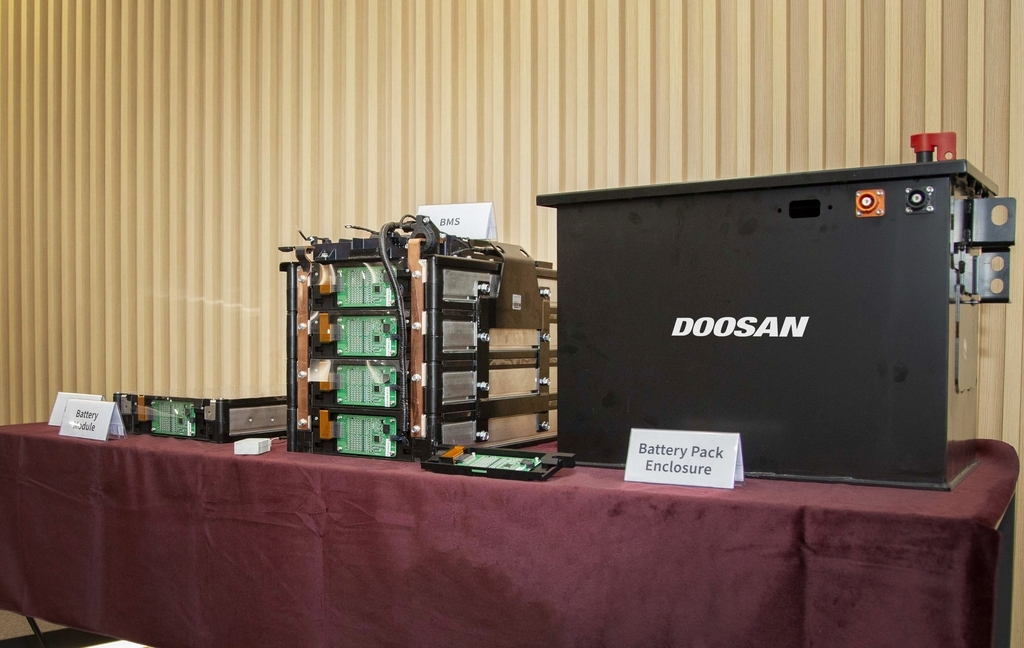 This photo provided by Doosan Infracore Co. on Monday, shows a prototype of battery packs for construction machinery. (Doosan Infracore Co.)