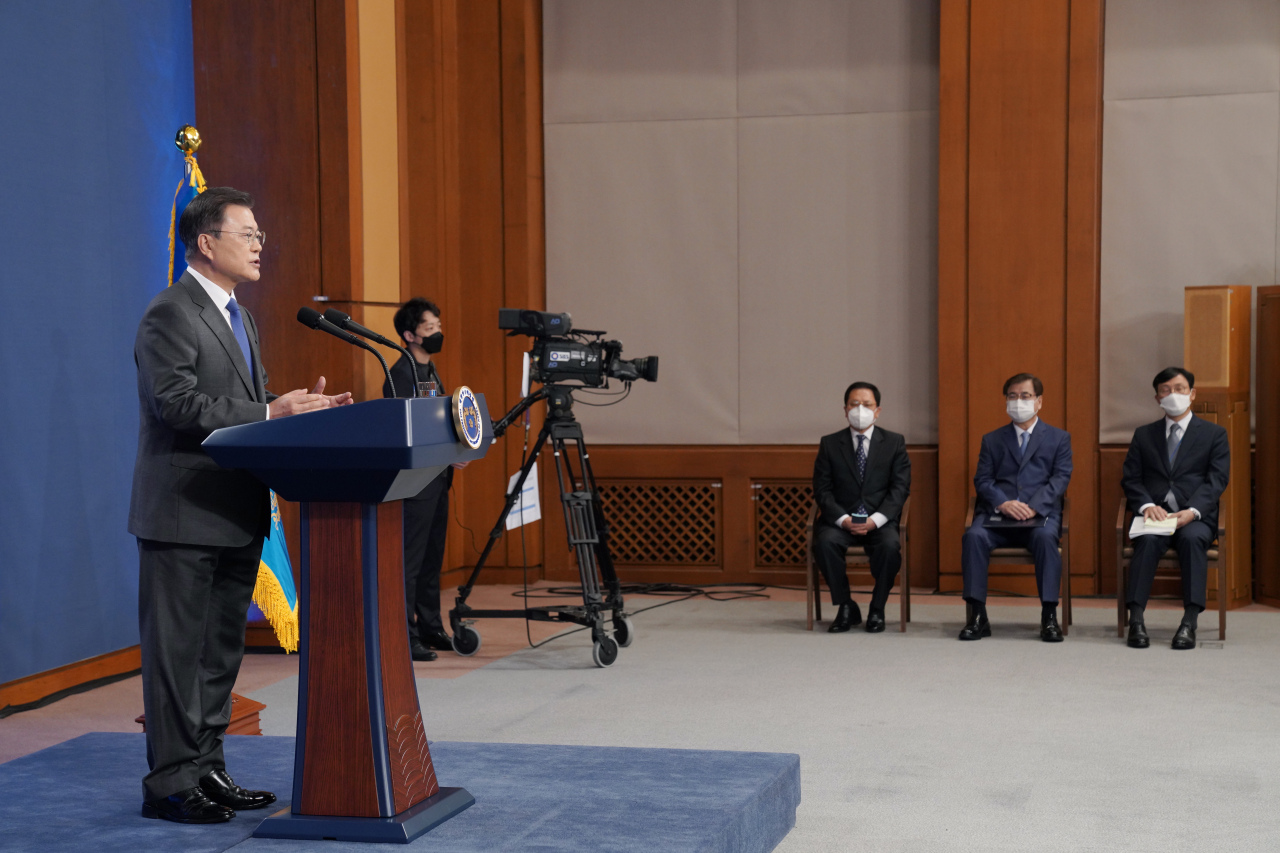 President Moon Jae-in delivers a special address at Cheong Wa Dae in Seoul on Monday, to mark the fourth anniversary of his inauguration. (Yonhap)