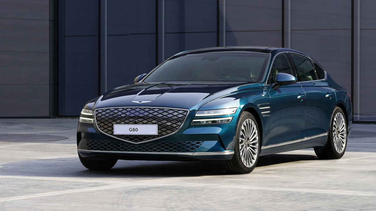 This file photo provided by Hyundai shows the all-electric G80 sedan unveiled at the Shanghai motor show held at the Shanghai convention center on April 19, 2021. (Hyundai)