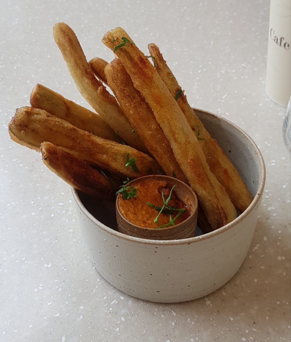 Bistro Antrho's eggplant fries served with smoky paprika-laced hummus. (Jean Oh /The Korea Herald)