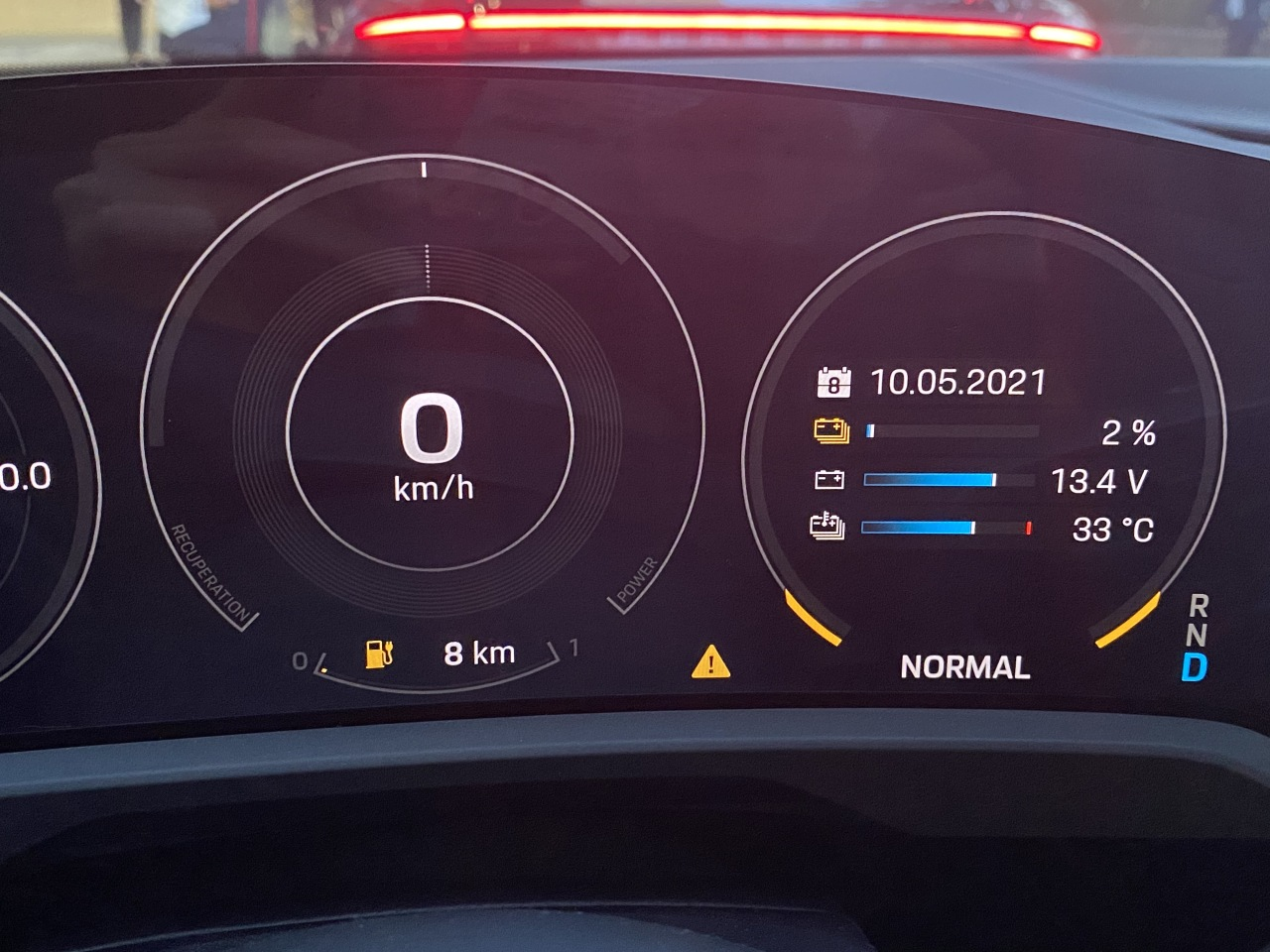 The Porsche Taycan 4S display shows 2 percent battery remaining and mileage of 8 kilometers, after being driven about 350 kilometers on a single charge Monday. (Jo He-rim/The Korea Herald)