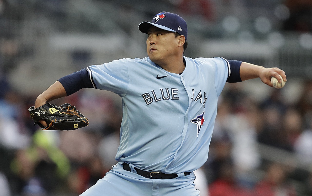 In this Getty Images photo, Ryu Hyun-jin of the Toronto Blue Jays pitches against the Atlanta Braves in the bottom of the first inning of a Major League Baseball regular season game at Truist Park in Atlanta on Wednesday. (Getty Images)