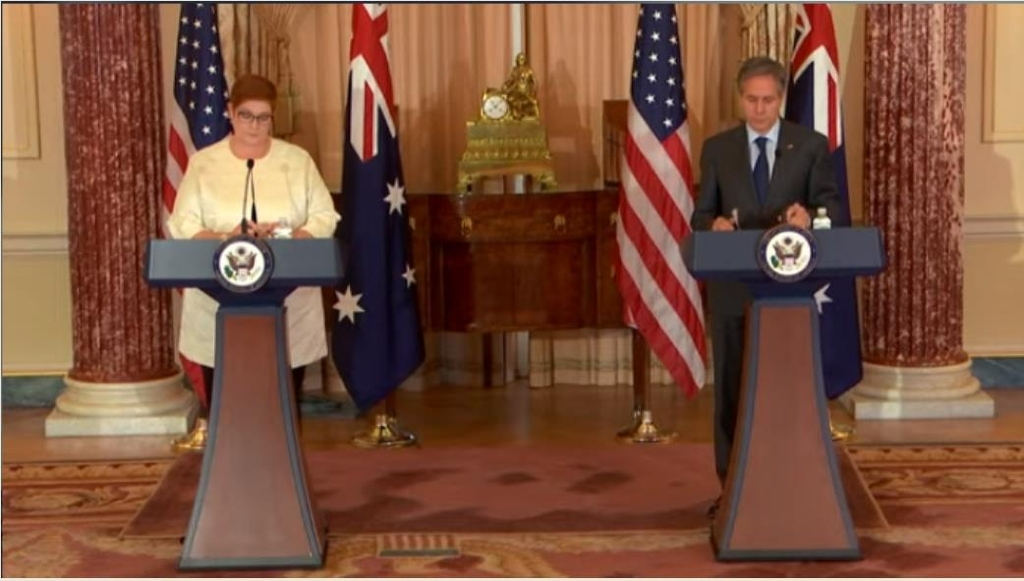 The image captured from the website of the US State Department shows US Secretary of State Antony Blinken (R) and Australian Foreign Minister Marise Payne holding a joint press conference at the State Department in Washington on Thursday. (Yonhap)