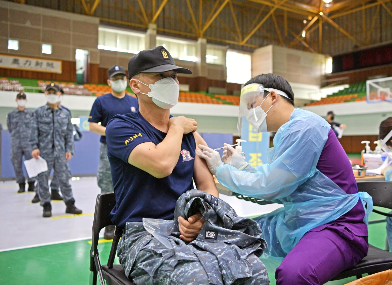 A member of the Marine Corps headquarters receives a COVID-19 vaccine on April 28, 2021, in this photo provided by the military. (South Korean military)