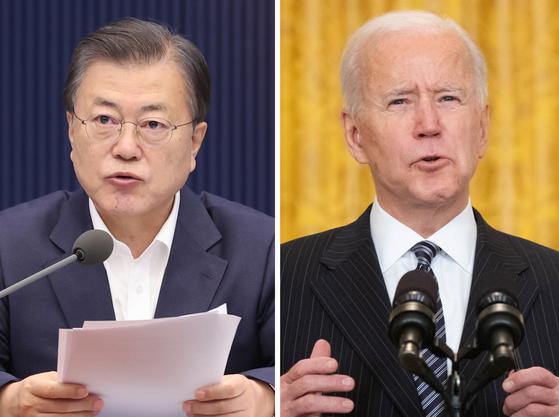 President Moon Jae-in (left) will meet US President Joe Biden in the US on Friday. (Yonhap)