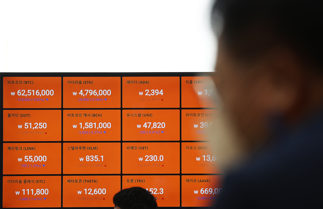 A digital board shows cryptocurrency prices at Bithumb on Friday. (Yonhap)
