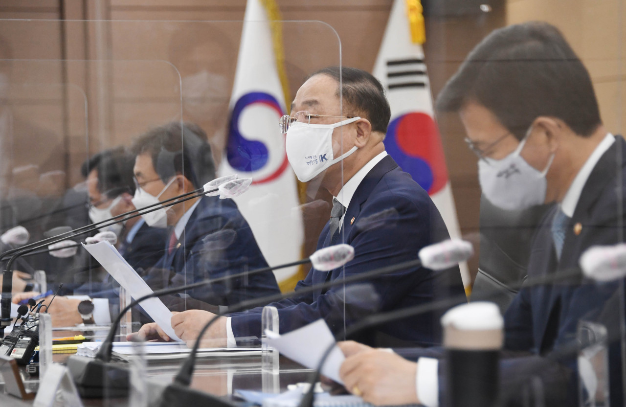 Finance Minister Hong Nam-ki speaks at a meeting of economy-related ministers at the government complex in Seoul on Monday. (The Ministry of Finance)