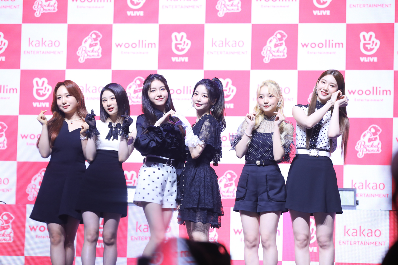 Members of Rocket Punch pose for picture at a media event conducted on May 17 in Seoul. (Woollim Entertainment)