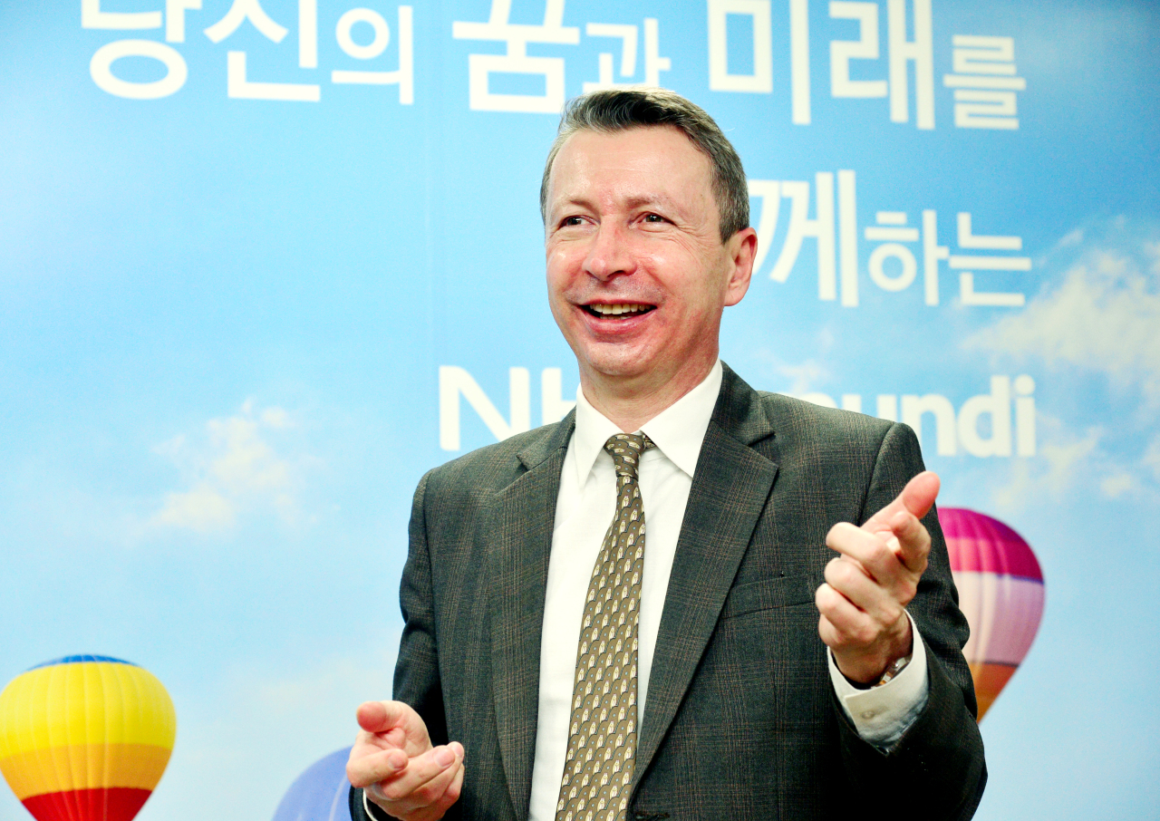 NH-Amundi Asset Management Deputy CEO Nicolas Simon poses for a photo during an interview with The Korea Herald in Yeoudio, western Seoul. (Park Hyun-koo/The Korea Herald)